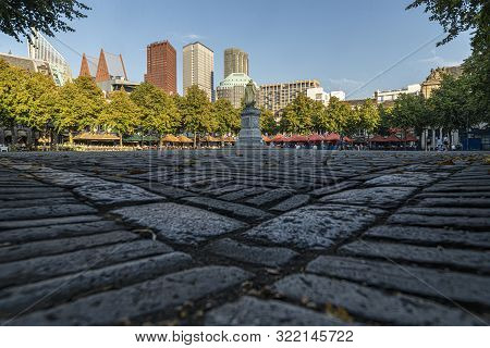 Central Place Of The Hague City Called 'het Plein' Where Locals And Tourists Enjoy The Late Summer W