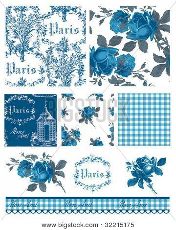 Pretty Parisian Themed Floral Vector Seamless Patterns and icons.  Great for textile projects or digital paper.