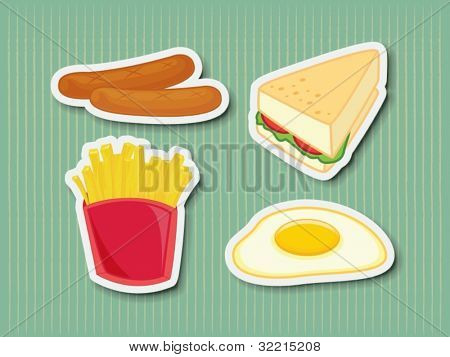 Illustration of chicken foods as stickers