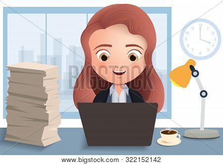 Business Employee In Overtime Vector Character. Business Female Office Employee Typing And Working I