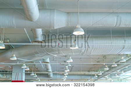 Air Duct, Air Conditioner Pipe, Wiring Pipe, And Fire Sprinkler System. Air Flow And Ventilation Sys