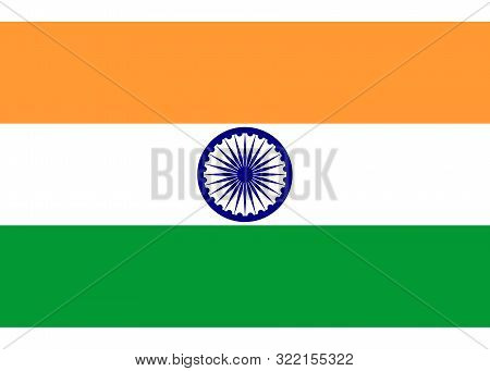 India Flag, Official Colors And Proportion Correctly. National India Flag. Vector Illustration. Illu