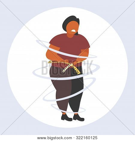 Fat Obese Woman Measuring Her Waistline Sad African American Overweight Girl Using Tape Measure Weig