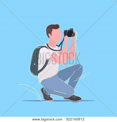 Professional Photographer Taking Picture Photo Man Traveler With Backpack Shooting With Digital Dslr