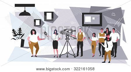 Female Presenter Interviewing With Crew Reporter Taking Interview With Businesswoman Mass Media Anno