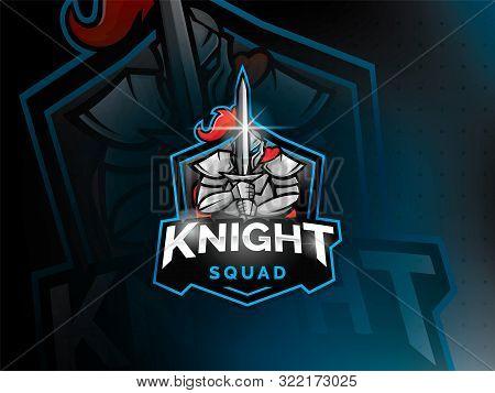 Modern Knights Logo Design Template For A Sport Team. Medieval Knight Emblem Design. Vector Illustra