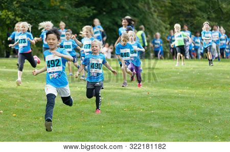 Stockholm - Sept 08, 2019: Princess Estelle And Other Kids Running During The Generation Pep Day In