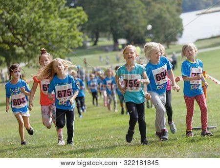 Stockholm - Sept 08, 2019: Happy Kids Running In The Nature During The Generation Pep Day In Hagapar