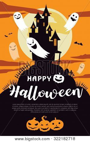 Happy Halloween Background With Full Moon And House. Halloween Background With Ghost And The Moon. H