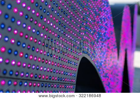 Led Lights. Multi-colored Light Bulbs For Illumination. Texture Of Colored Light. Array Of Color Led