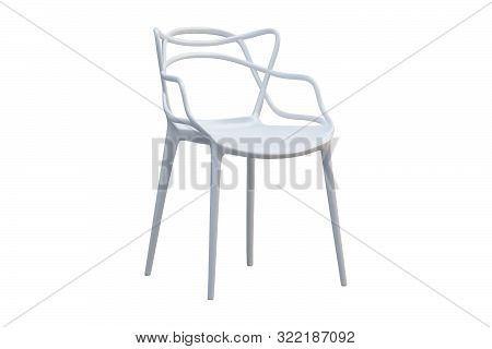 White Plastic Mid-century Chair With Curved Backrest. 3D Render