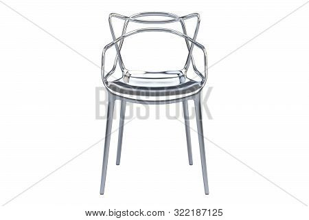Chromium Plastic Mid-century Chair With Curved Backrest. 3D Render