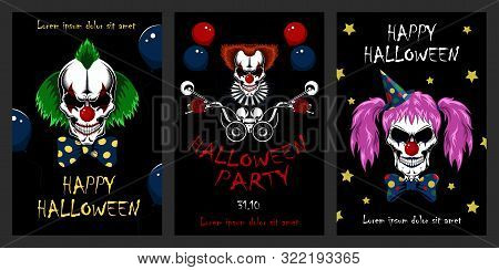 Set Of Vector Halloween Illustrations. Evil Clowns, Clown Driving A Motorcycle. Design Elements For