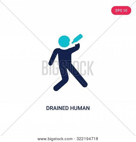 drained human icon in two color design style.