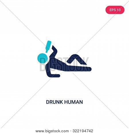 drunk human icon in two color design style.