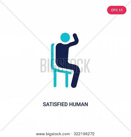 satisfied human icon in two color design style.