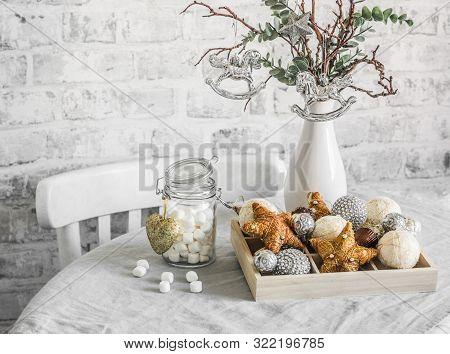 Christmas Still Life. Box Of Christmas Decorations, Jar Of Marshmallows, Alternative Christmas Tree