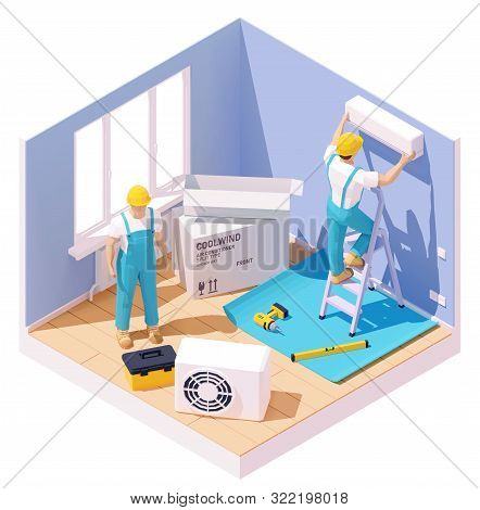 Vector Isometric Technicians Installing Or Fixing Home Air Conditioner. Workers With Tools In The Ro