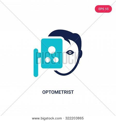 optometrist icon in two color design style.