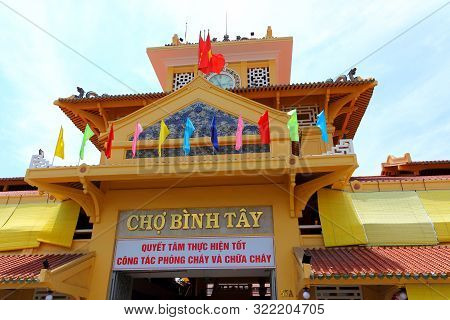 Ho Chi Minh City, Vietnam - Mart 28, 2019: Decoration Facade And Front Entrance The Old Traditional