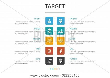 Target Infographic 10 Option Concept.big Idea, Task, Goal, Patience Icons