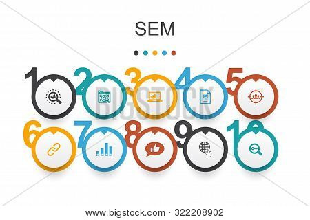 Sem Infographic Design Template. Search Engine, Digital Marketing, Content, Internet Icons