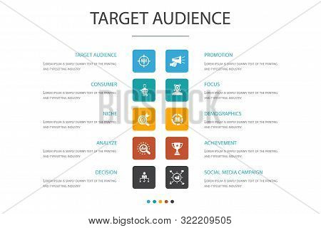 Target Audience Infographic 10 Option Concept.consumer, Demographics, Niche, Promotion Icons