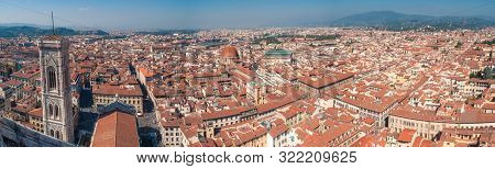 Aerial Cityscape Of Florence With Rooftops And View Of Giotto Bell Tower Landmark. Florence, Italy