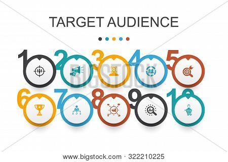 Target Audience Infographic Design Template. Consumer, Demographics, Niche, Promotion Icons