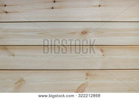 View From Above Of Not Painted Natural Light Wooden Board Table Background, Top View Flat Lay With C