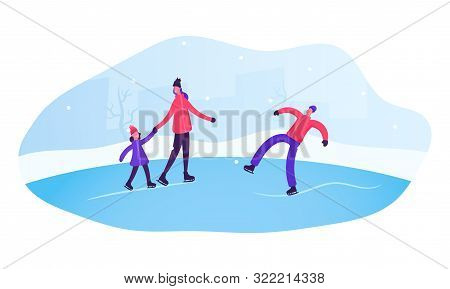 People Skating On Open Air Rink In Winter Time. Happy Family Of Mother Father And Little Daughter Sp