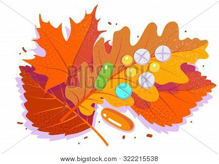 Pills And Tablets On Red Falling Leaf. Antidepressants, Autumn Cold And Flu. Season Affective Desord