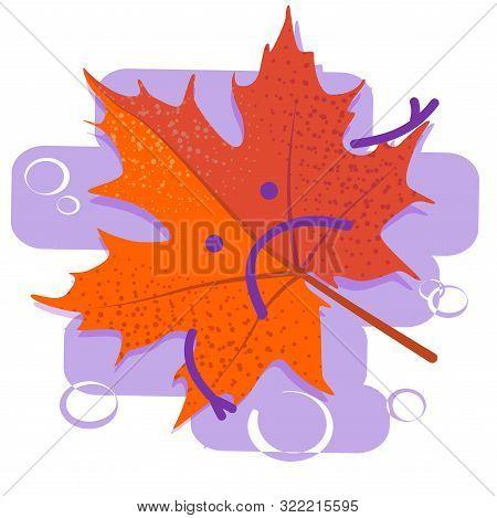 Red Sad Leaf. Seasonal Depression. Autumn Cold And Flu. Season Affective Desorder. Flat Vector Illus