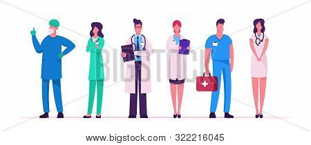 Hospital Healthcare Staff Set, Doctors In Medical Robe With Stethoscope Holding Notebook, Surgeon Ch