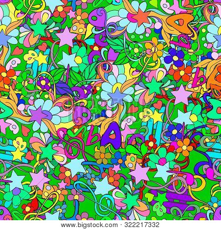 Doodle Seamless Pattern With Flowers And Swirls,  Notes, Scriptural Key, Letters, Can Be User A Deco