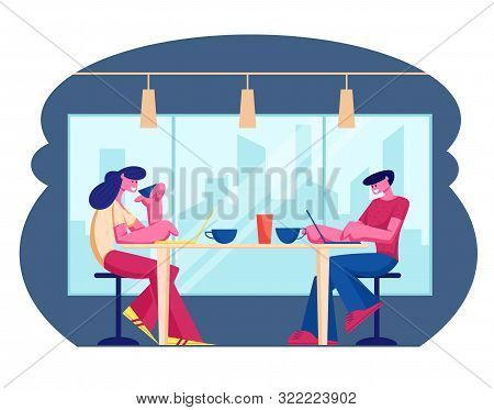 Young People Visiting Cafe And Hospitality Concept. Male And Female Characters Sitting At Tables Dri