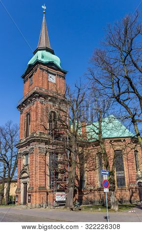Schwerin, Germany - April 16, 2019: Historic St. Nicolas Church In The Center Of Schwerin, Germany