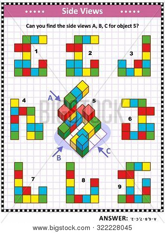Iq, Memory And Spatial Reasoning Training Educational Math Puzzle With Building Blocks: Can You Find