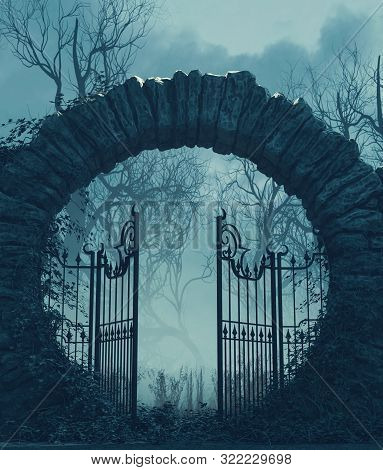 The Gates Is Open,halloween Scene,3d Illustration Conceptual Background