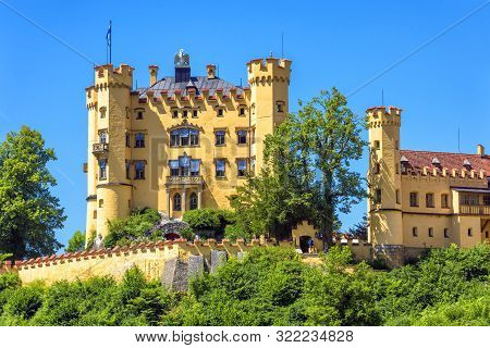 Hohenschwangau Castle Near Fussen, Bavaria, Germany. Schloss Hohenschwangau Is A Landmark Of German