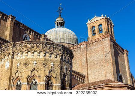 Basilica Di San Giovanni E Paolo In Summer, Venice, Italy. Medieval Architecture Of Venice At Campo