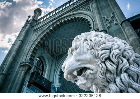 Alupka, Crimea - May 20, 2016: Statue Of Lion In Front Of Vorontsov Palace In Crimea, Russia. Voront