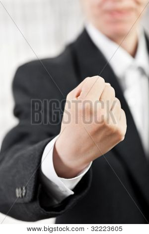 Angry Man Gesturing Fist