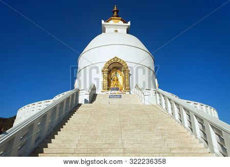 World Peace Stupa, White Stupa Near Pokhara, Annapurna Area, Nepal