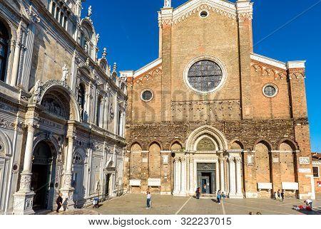 Venice, Italy - May 21, 2017: Scuola Grande Di San Marco And Basilica San Giovanni E Paolo, Venice.