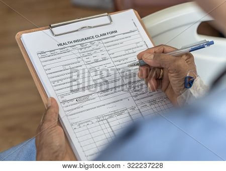 Health insurance claim form application for medicare coverage and medical treatment for patient with illness, accident injury and admitted in hospital ward poster
