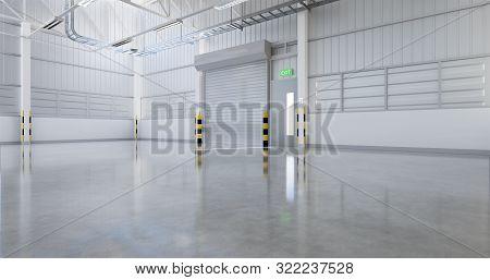 3d Rendering Of Factory Or Warehouse Building With Concrete Floor And Shutter Door For Industrial Ba