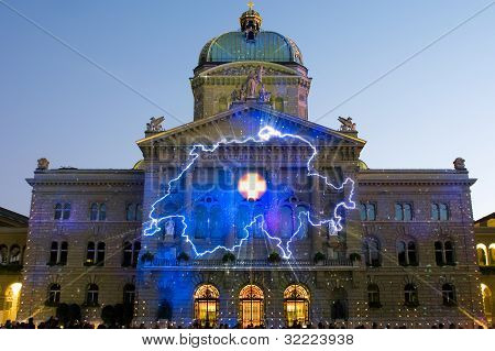 Light Show On Swiss Government Building