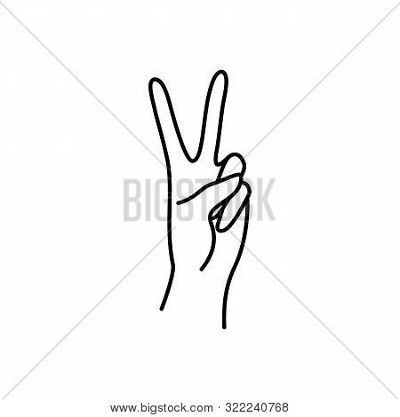 Womans Hand Peace Sign Line. Vector Illustration Of Female Hands Of Victory Gesture. Lineart In A Tr