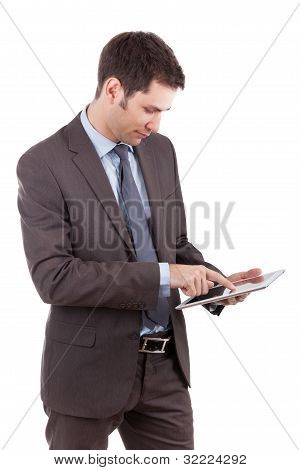 Young Caucasian Businessman Using A Tablet Pc